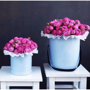 15 кустовых розовых роз в коробке R571